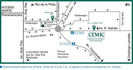 Acceso en auto al Hospital Cemic en Saavedra